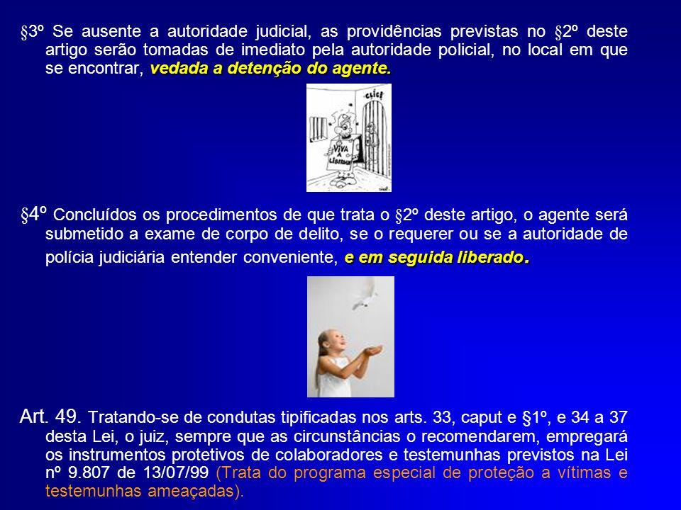 vedada a detenção do agente. §3º Se ausente a autoridade judicial, as providências previstas no §2º deste artigo serão tomadas de imediato pela autori
