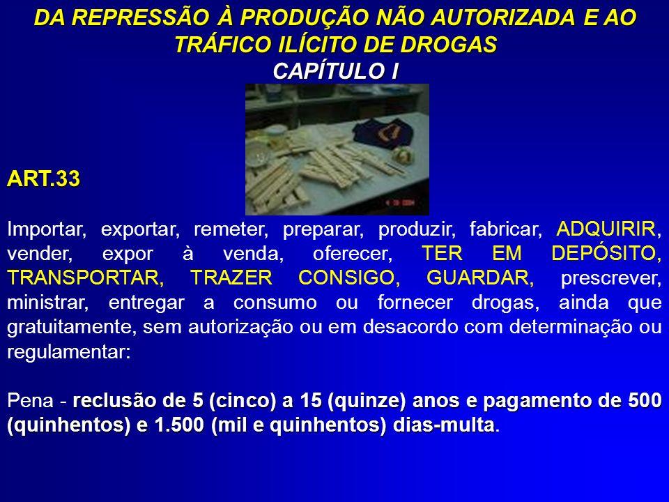 DA REPRESSÃO À PRODUÇÃO NÃO AUTORIZADA E AO TRÁFICO ILÍCITO DE DROGAS CAPÍTULO I ART.33 Importar, exportar, remeter, preparar, produzir, fabricar, ADQ