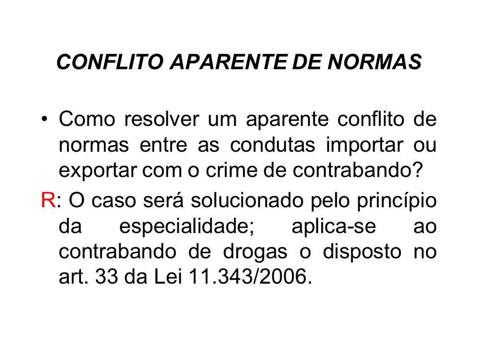 CONFLITO APARENTE DE NORMAS Como resolver um aparente conflito de normas entre as condutas importar ou exportar com o crime de contrabando? R: O caso
