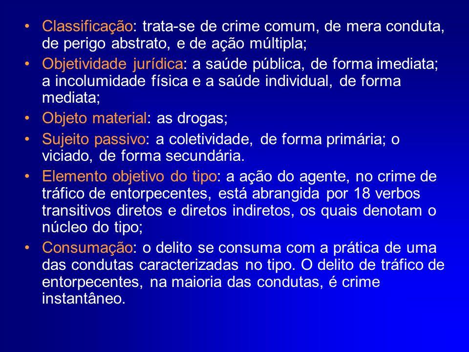 Classificação: trata-se de crime comum, de mera conduta, de perigo abstrato, e de ação múltipla; Objetividade jurídica: a saúde pública, de forma imed