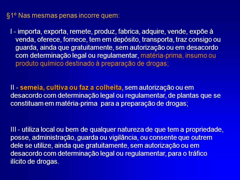 §2º Induzir, instigar ou auxiliar alguém ao uso indevido de droga: Pena - detenção de 1 (um) a 3 (três) anos, e multa de 100 (cem) a 300 (trezentos) dias-multa.