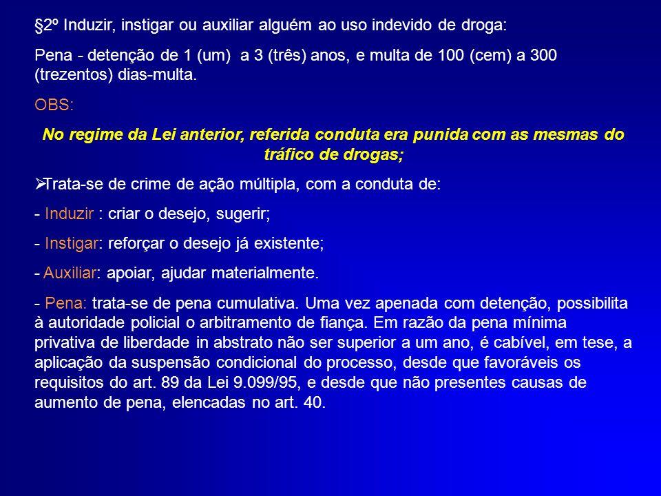 §2º Induzir, instigar ou auxiliar alguém ao uso indevido de droga: Pena - detenção de 1 (um) a 3 (três) anos, e multa de 100 (cem) a 300 (trezentos) d