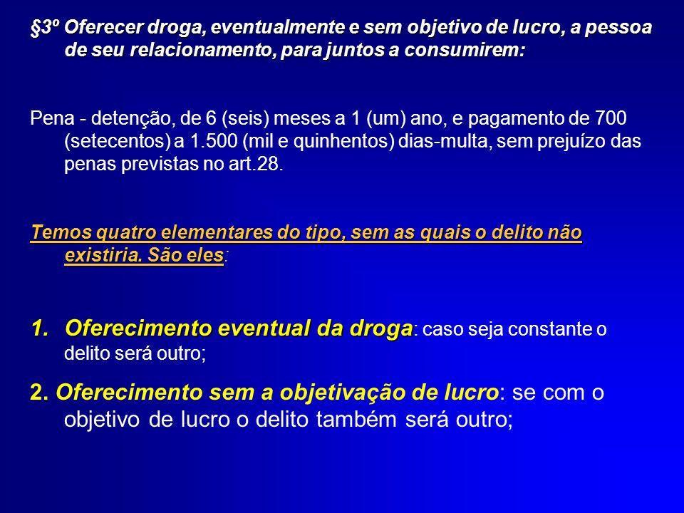para juntos consumirem: 3.Oferecimento da droga a pessoa de seu relacionamento, para juntos consumirem: caso o agente ofereça a droga para que apenas o outro a consuma, o crime será de tráfico.