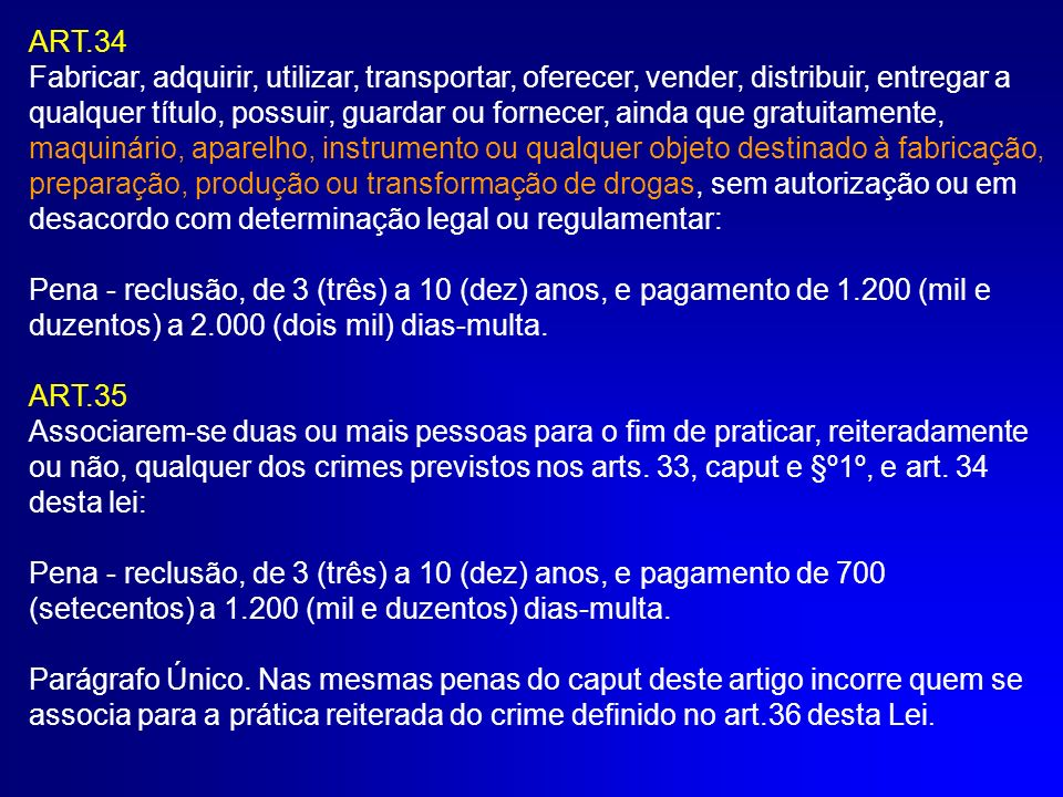 ART.36 Financiar ou custear a prática de qualquer dos crimes previstos nos arts.
