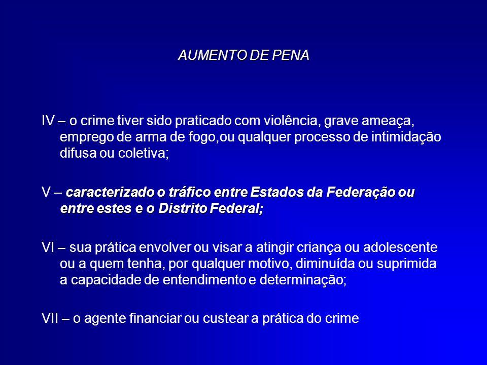 AUMENTO DE PENA IV – o crime tiver sido praticado com violência, grave ameaça, emprego de arma de fogo,ou qualquer processo de intimidação difusa ou c
