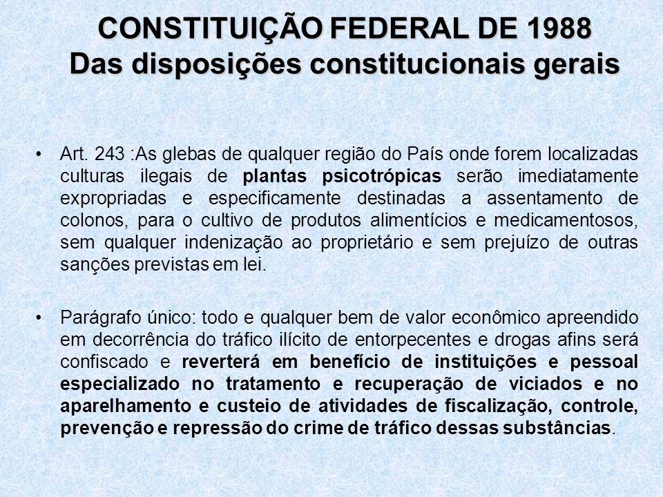 CONSTITUIÇÃO FEDERAL DE 1988 Das disposições constitucionais gerais CONSTITUIÇÃO FEDERAL DE 1988 Das disposições constitucionais gerais Art. 243 :As g