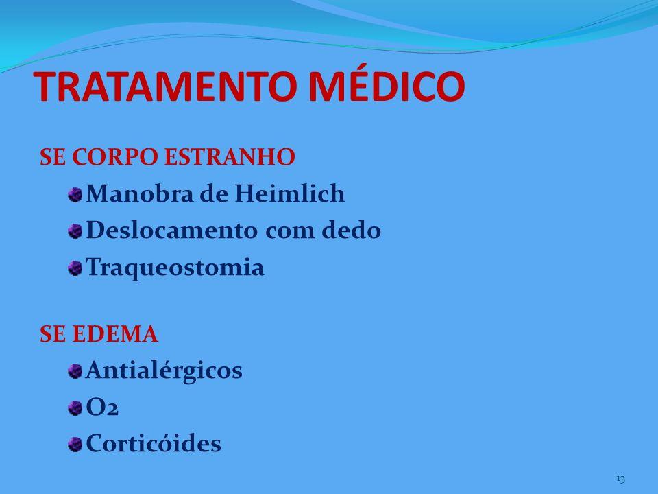 TRATAMENTO MÉDICO SE CORPO ESTRANHO Manobra de Heimlich Deslocamento com dedo Traqueostomia SE EDEMA Antialérgicos O2 Corticóides 13