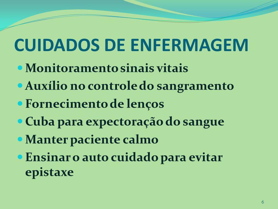 CUIDADOS DE ENFERMAGEM Monitoramento sinais vitais Auxílio no controle do sangramento Fornecimento de lenços Cuba para expectoração do sangue Manter p