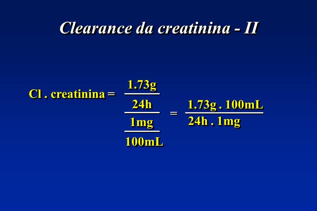 Clearance da creatinina - II Cl. creatinina = 1.73g1.73g 24h24h 1mg1mg 100mL100mL 24h. 1mg 1.73g. 100mL = =