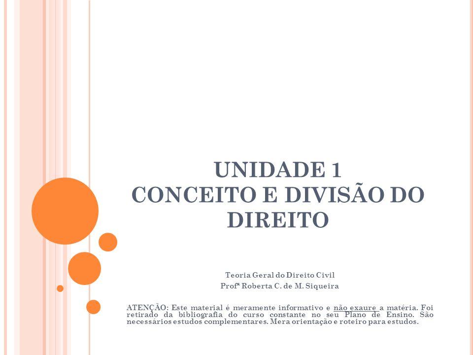 UNIDADE 1 CONCEITO E DIVISÃO DO DIREITO Teoria Geral do Direito Civil Profª Roberta C. de M. Siqueira ATENÇÃO: Este material é meramente informativo e