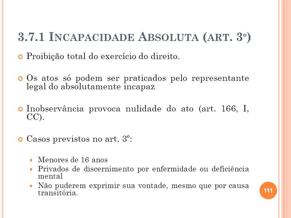 3.7.1 I NCAPACIDADE A BSOLUTA ( ART. 3 º ) Proibição total do exercício do direito. Os atos só podem ser praticados pelo representante legal do absolu