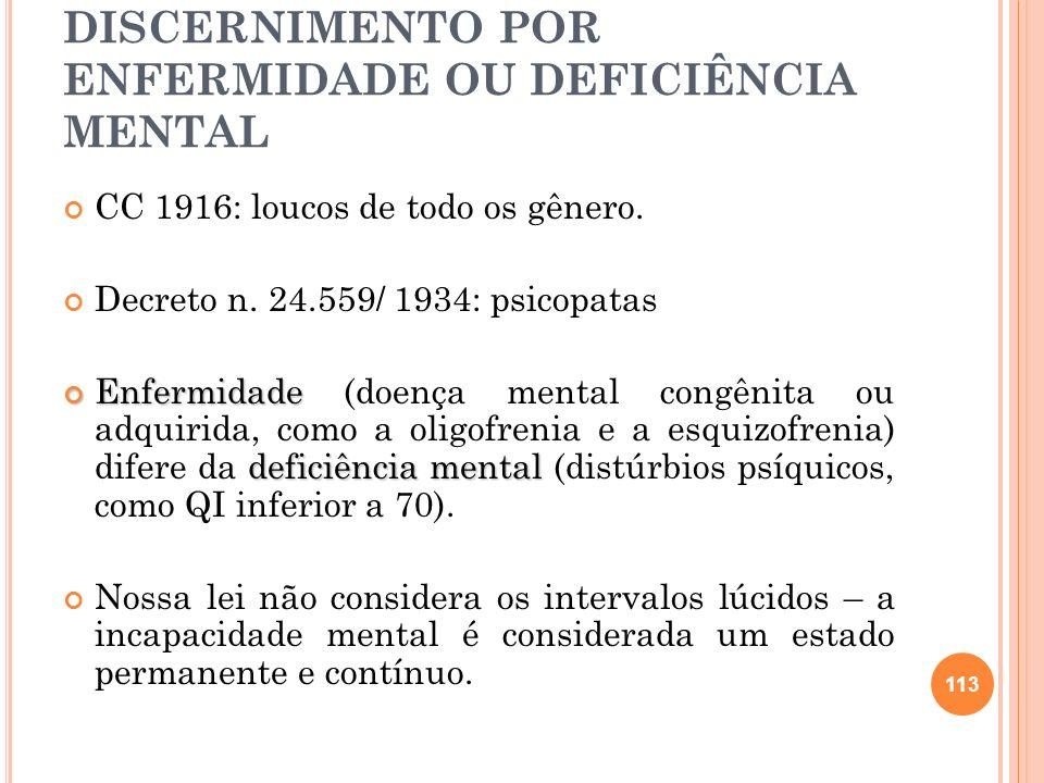 B) PRIVADOS DO DISCERNIMENTO POR ENFERMIDADE OU DEFICIÊNCIA MENTAL CC 1916: loucos de todo os gênero. Decreto n. 24.559/ 1934: psicopatas Enfermidade