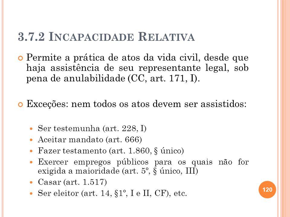 3.7.2 I NCAPACIDADE R ELATIVA Permite a prática de atos da vida civil, desde que haja assistência de seu representante legal, sob pena de anulabilidad