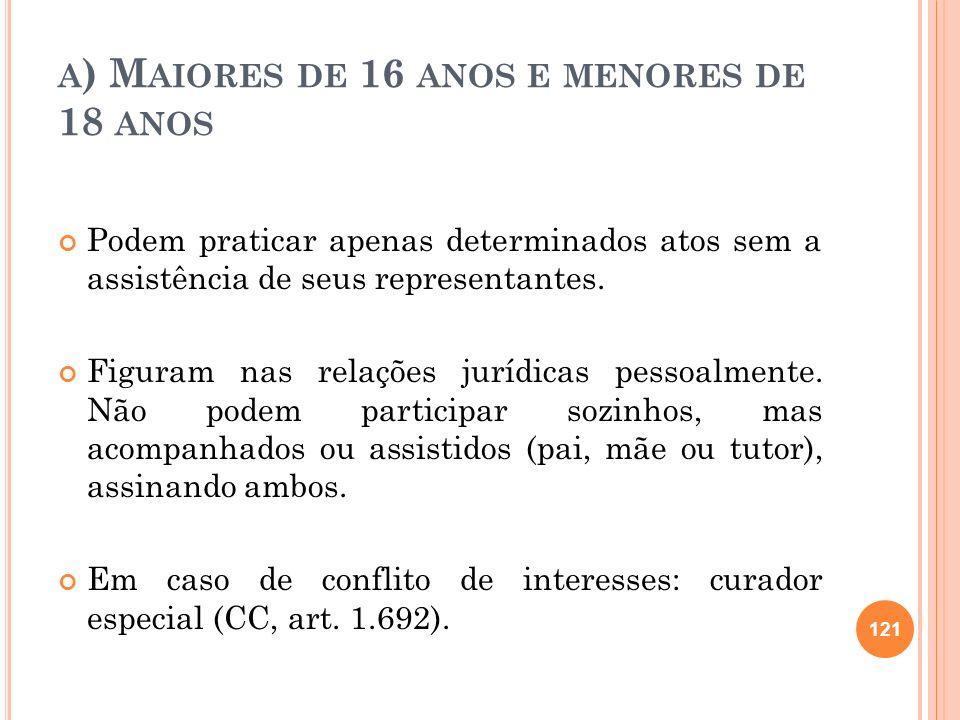 A ) M AIORES DE 16 ANOS E MENORES DE 18 ANOS Podem praticar apenas determinados atos sem a assistência de seus representantes. Figuram nas relações ju