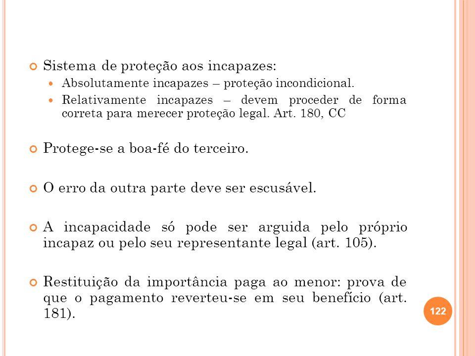Sistema de proteção aos incapazes: Absolutamente incapazes – proteção incondicional. Relativamente incapazes – devem proceder de forma correta para me