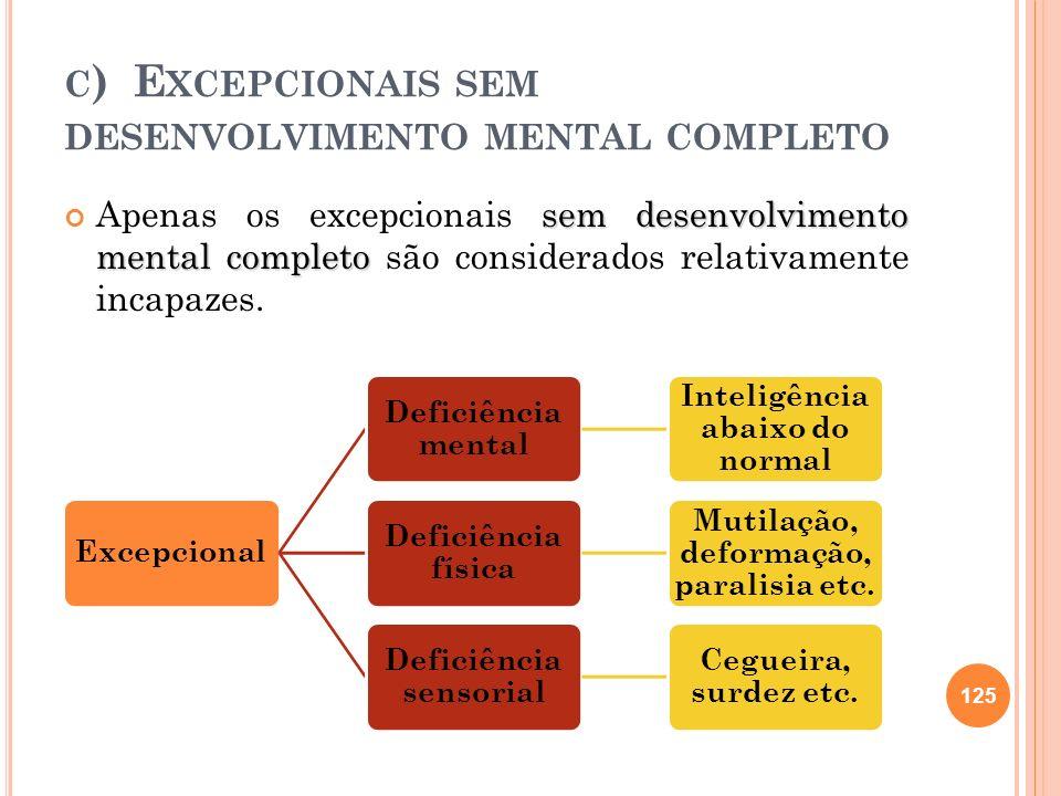 C ) E XCEPCIONAIS SEM DESENVOLVIMENTO MENTAL COMPLETO sem desenvolvimento mental completo Apenas os excepcionais sem desenvolvimento mental completo s