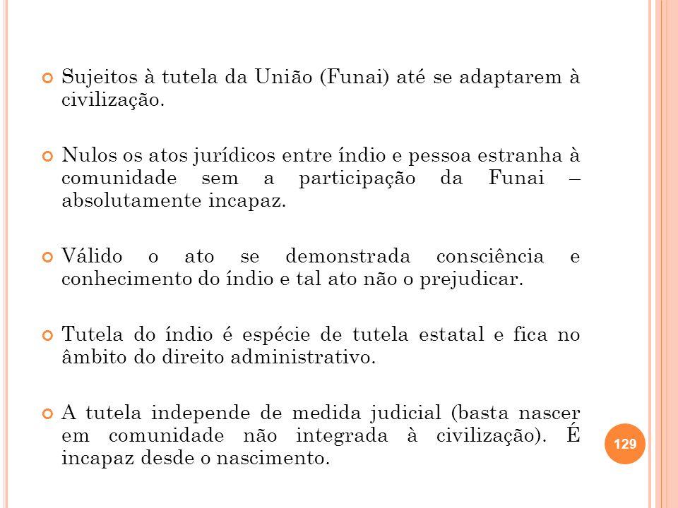 Sujeitos à tutela da União (Funai) até se adaptarem à civilização. Nulos os atos jurídicos entre índio e pessoa estranha à comunidade sem a participaç