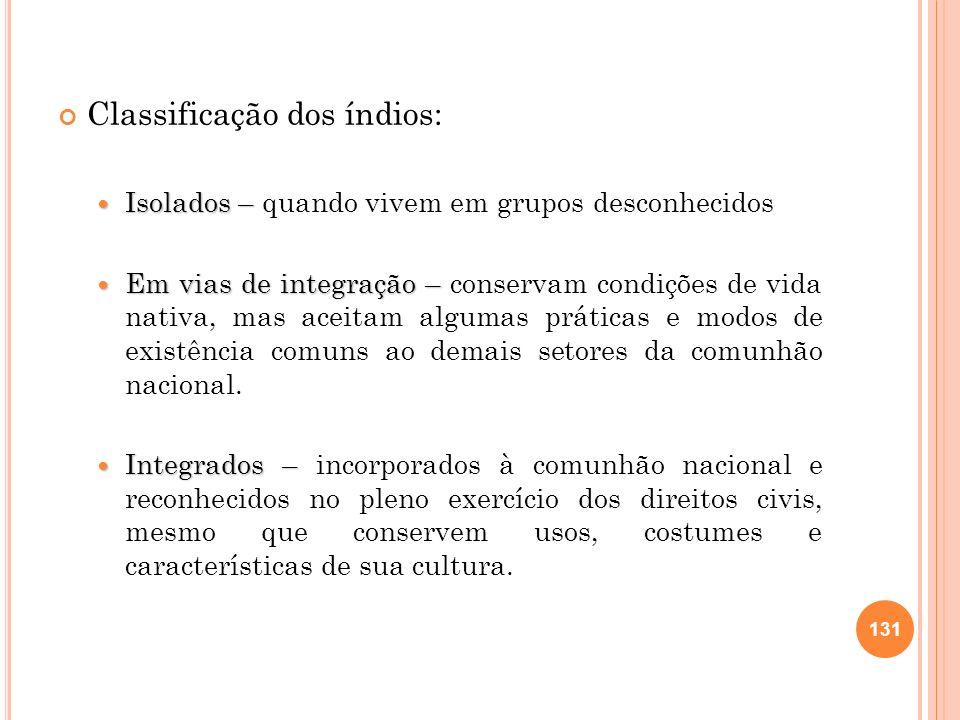 Classificação dos índios: Isolados – Isolados – quando vivem em grupos desconhecidos Em vias de integração – Em vias de integração – conservam condiçõ