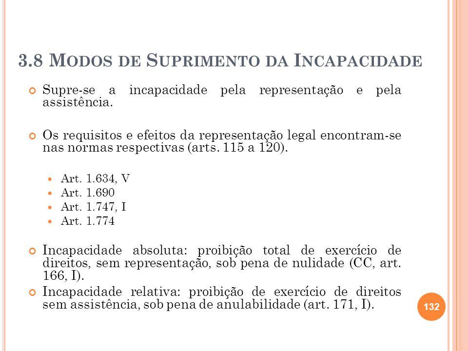 3.8 M ODOS DE S UPRIMENTO DA I NCAPACIDADE Supre-se a incapacidade pela representação e pela assistência. Os requisitos e efeitos da representação leg