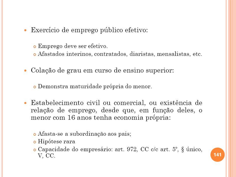 Exercício de emprego público efetivo: Emprego deve ser efetivo. Afastados interinos, contratados, diaristas, mensalistas, etc. Colação de grau em curs