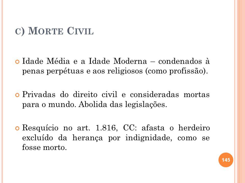 C ) M ORTE C IVIL Idade Média e a Idade Moderna – condenados à penas perpétuas e aos religiosos (como profissão). Privadas do direito civil e consider