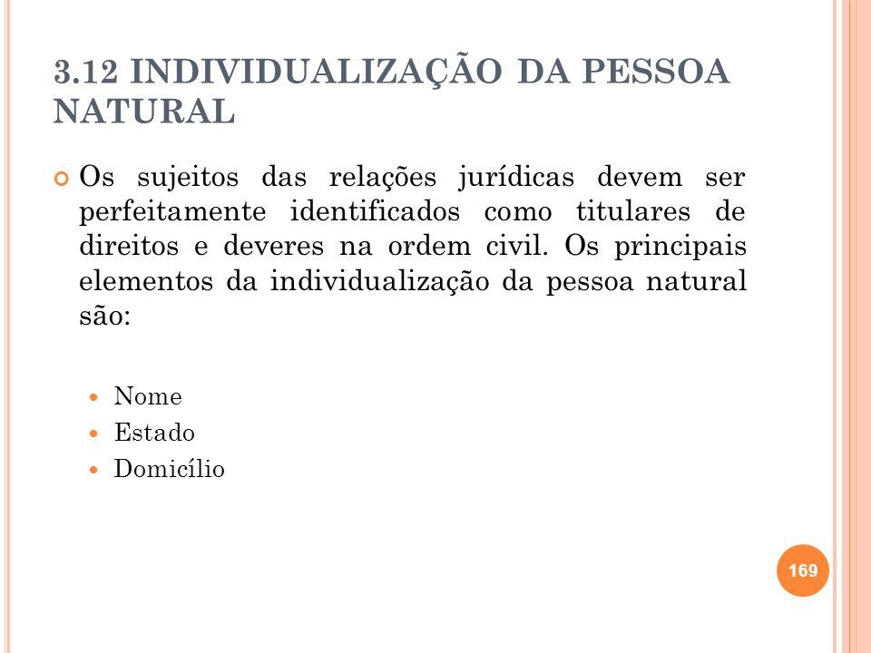 3.12 INDIVIDUALIZAÇÃO DA PESSOA NATURAL Os sujeitos das relações jurídicas devem ser perfeitamente identificados como titulares de direitos e deveres