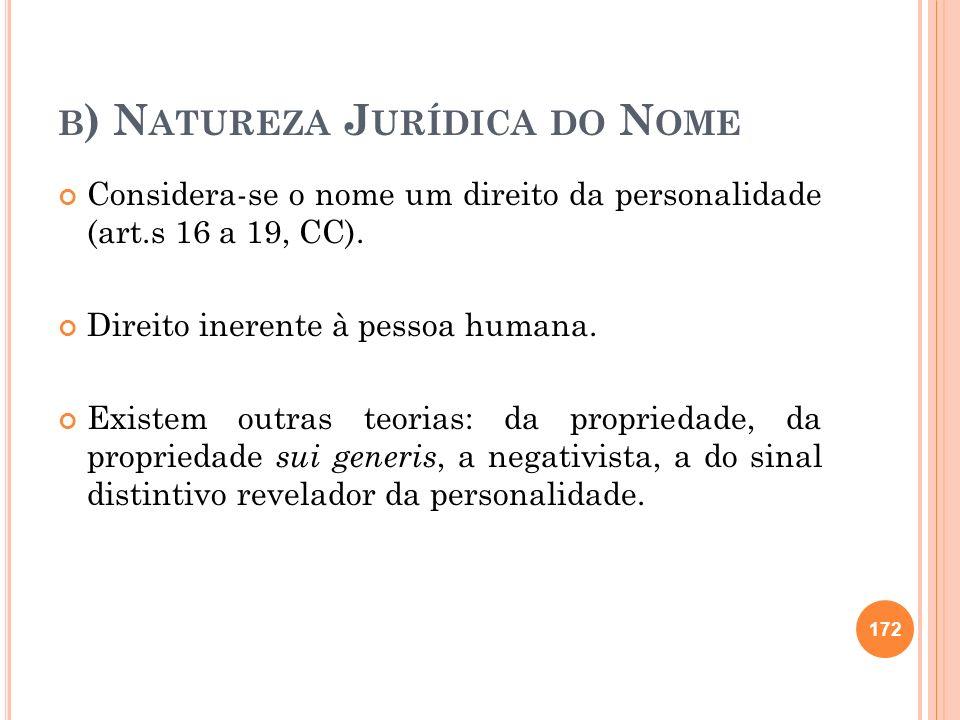 B ) N ATUREZA J URÍDICA DO N OME Considera-se o nome um direito da personalidade (art.s 16 a 19, CC). Direito inerente à pessoa humana. Existem outras