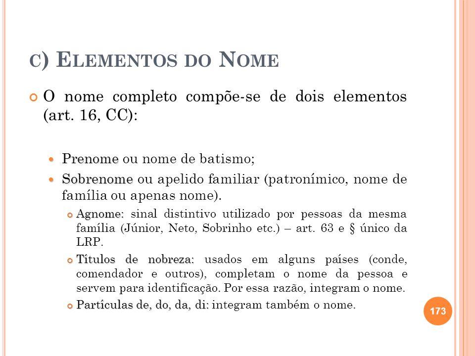 C ) E LEMENTOS DO N OME O nome completo compõe-se de dois elementos (art. 16, CC): Prenome Prenome ou nome de batismo; Sobrenome Sobrenome ou apelido