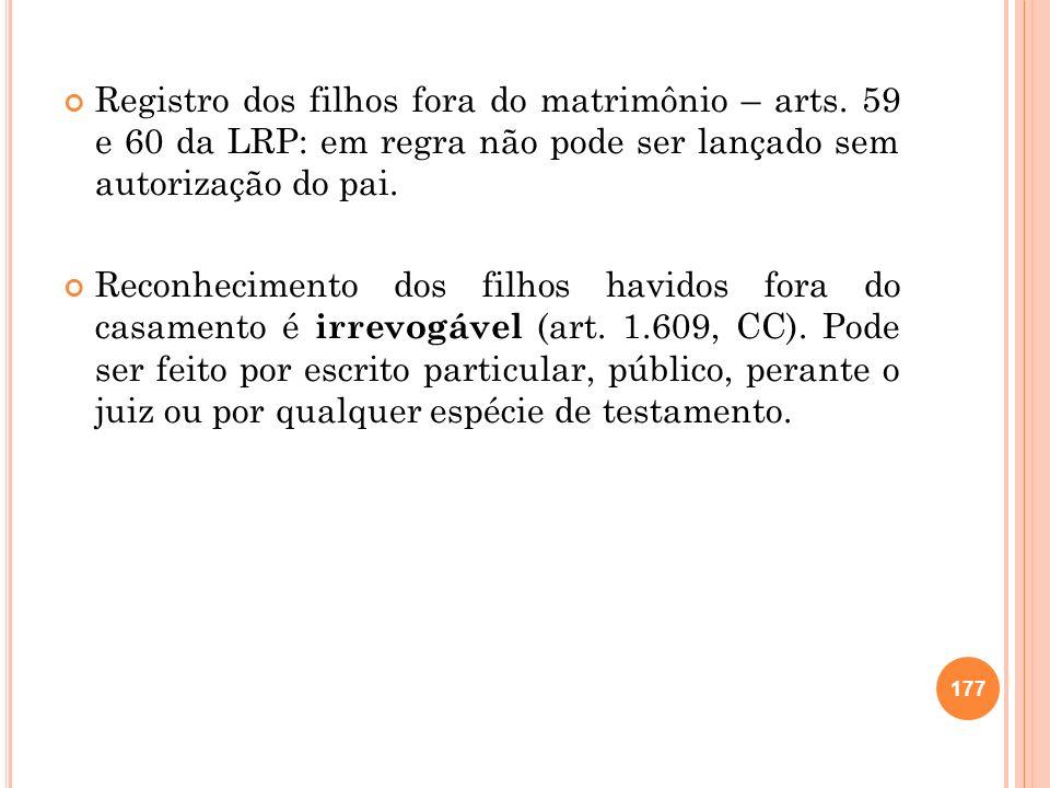 Registro dos filhos fora do matrimônio – arts. 59 e 60 da LRP: em regra não pode ser lançado sem autorização do pai. Reconhecimento dos filhos havidos