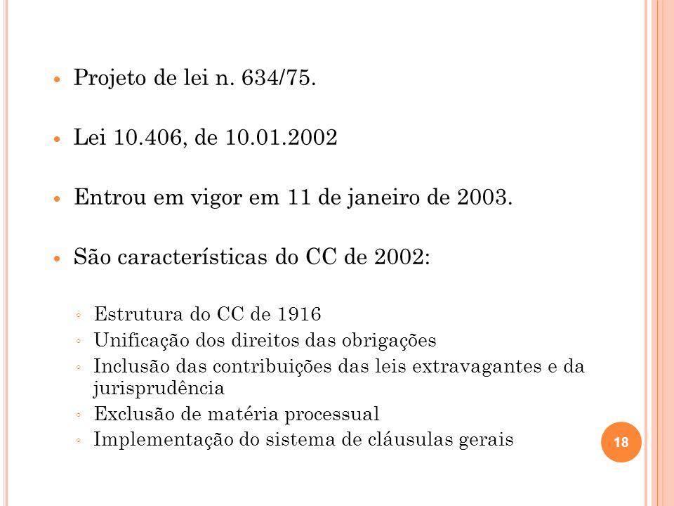 Projeto de lei n. 634/75. Lei 10.406, de 10.01.2002 Entrou em vigor em 11 de janeiro de 2003. São características do CC de 2002: Estrutura do CC de 19