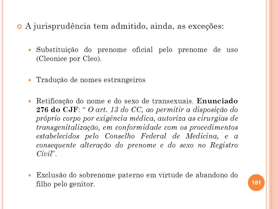 A jurisprudência tem admitido, ainda, as exceções: Substituição do prenome oficial pelo prenome de uso (Cleonice por Cleo). Tradução de nomes estrange