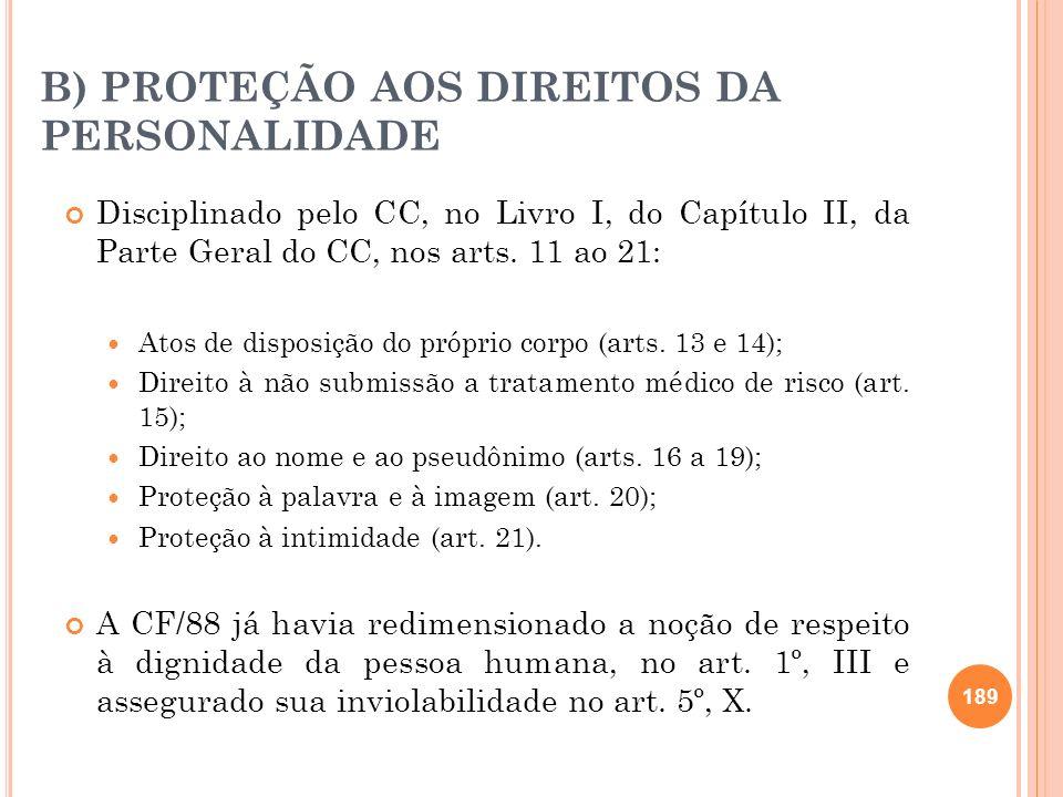 B) PROTEÇÃO AOS DIREITOS DA PERSONALIDADE Disciplinado pelo CC, no Livro I, do Capítulo II, da Parte Geral do CC, nos arts. 11 ao 21: Atos de disposiç