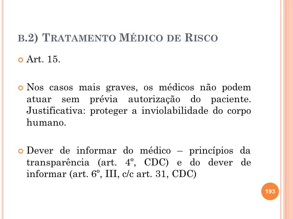 B.2) T RATAMENTO M ÉDICO DE R ISCO Art. 15. Nos casos mais graves, os médicos não podem atuar sem prévia autorização do paciente. Justificativa: prote