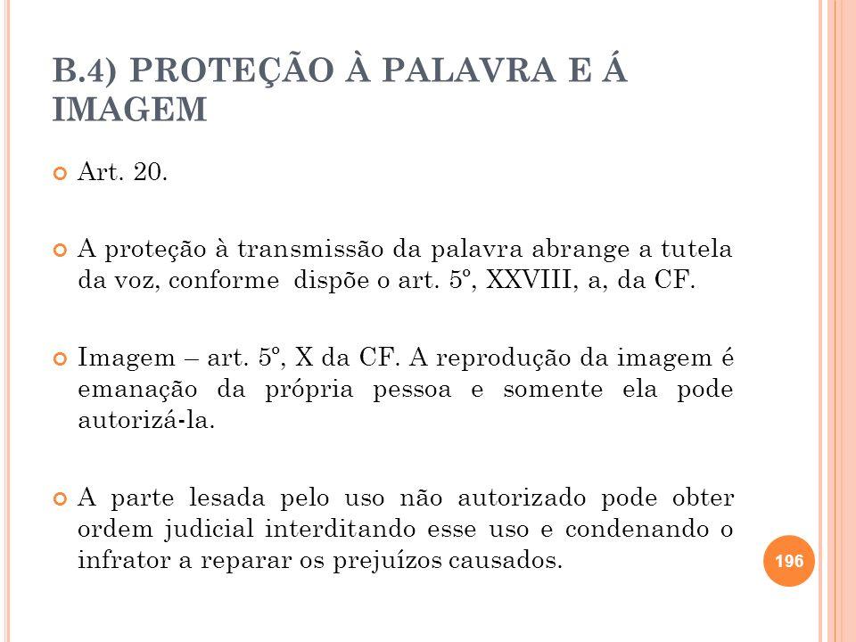 B.4) PROTEÇÃO À PALAVRA E Á IMAGEM Art. 20. A proteção à transmissão da palavra abrange a tutela da voz, conforme dispõe o art. 5º, XXVIII, a, da CF.