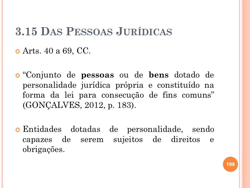 3.15 D AS P ESSOAS J URÍDICAS Arts. 40 a 69, CC. Conjunto de pessoas ou de bens dotado de personalidade jurídica própria e constituído na forma da lei