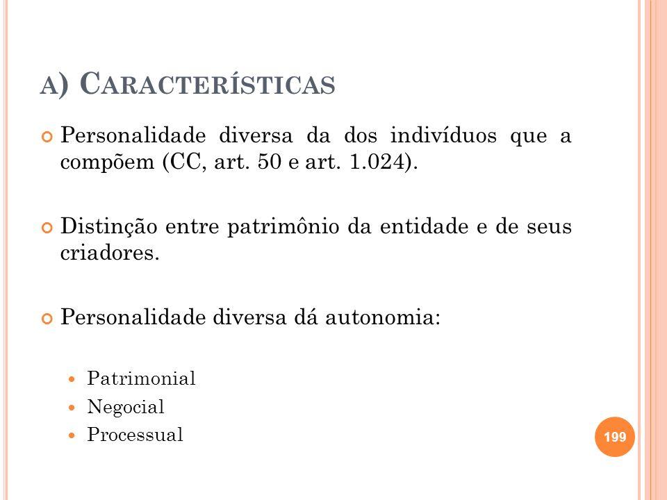 A ) C ARACTERÍSTICAS Personalidade diversa da dos indivíduos que a compõem (CC, art. 50 e art. 1.024). Distinção entre patrimônio da entidade e de seu
