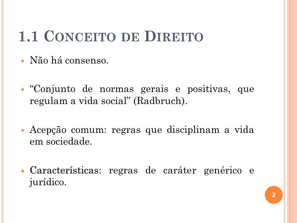 1.1 C ONCEITO DE D IREITO Não há consenso. Conjunto de normas gerais e positivas, que regulam a vida social (Radbruch). Acepção comum: regras que disc