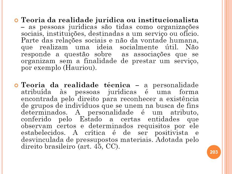 203 Teoria da realidade jurídica ou institucionalista – as pessoas jurídicas são tidas como organizações sociais, instituições, destinadas a um serviç