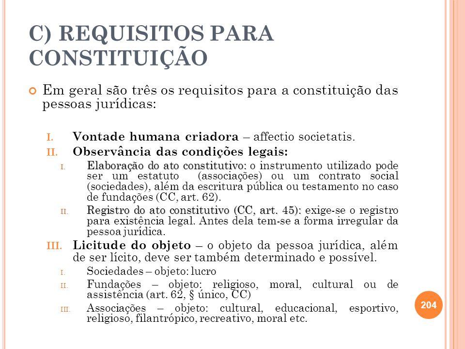 C) REQUISITOS PARA CONSTITUIÇÃO Em geral são três os requisitos para a constituição das pessoas jurídicas: I. Vontade humana criadora – affectio socie