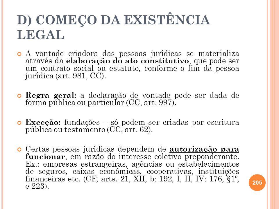 D) COMEÇO DA EXISTÊNCIA LEGAL A vontade criadora das pessoas jurídicas se materializa através da elaboração do ato constitutivo, que pode ser um contr