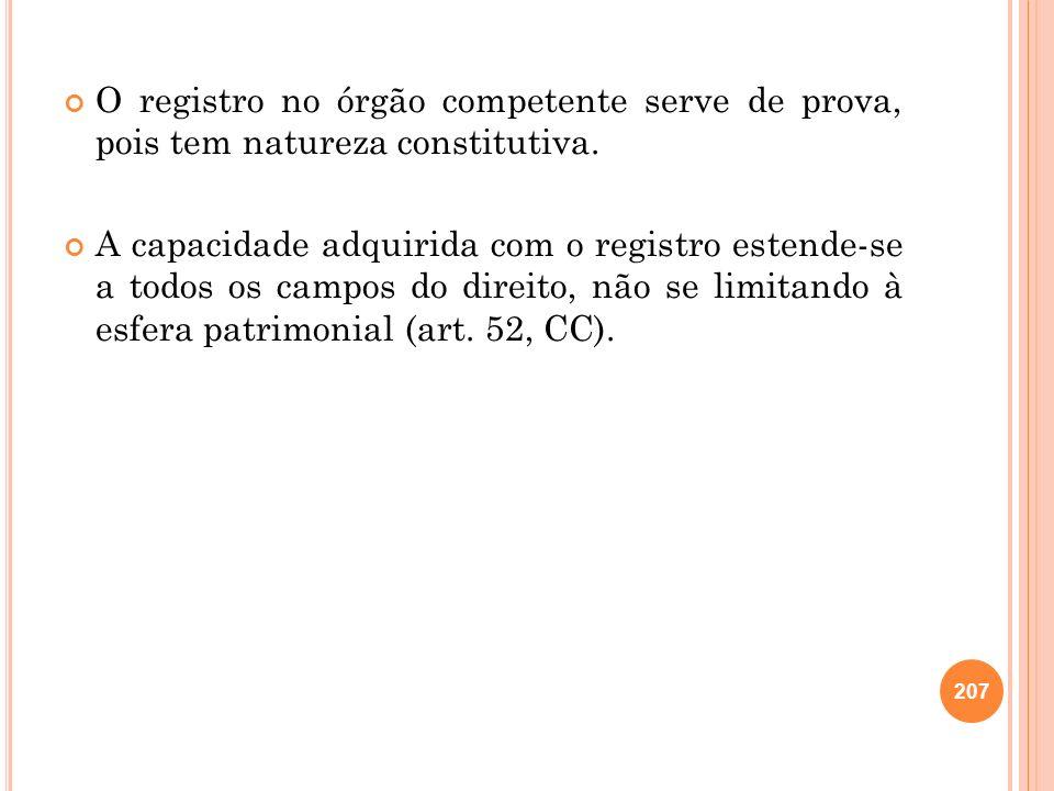 207 O registro no órgão competente serve de prova, pois tem natureza constitutiva. A capacidade adquirida com o registro estende-se a todos os campos