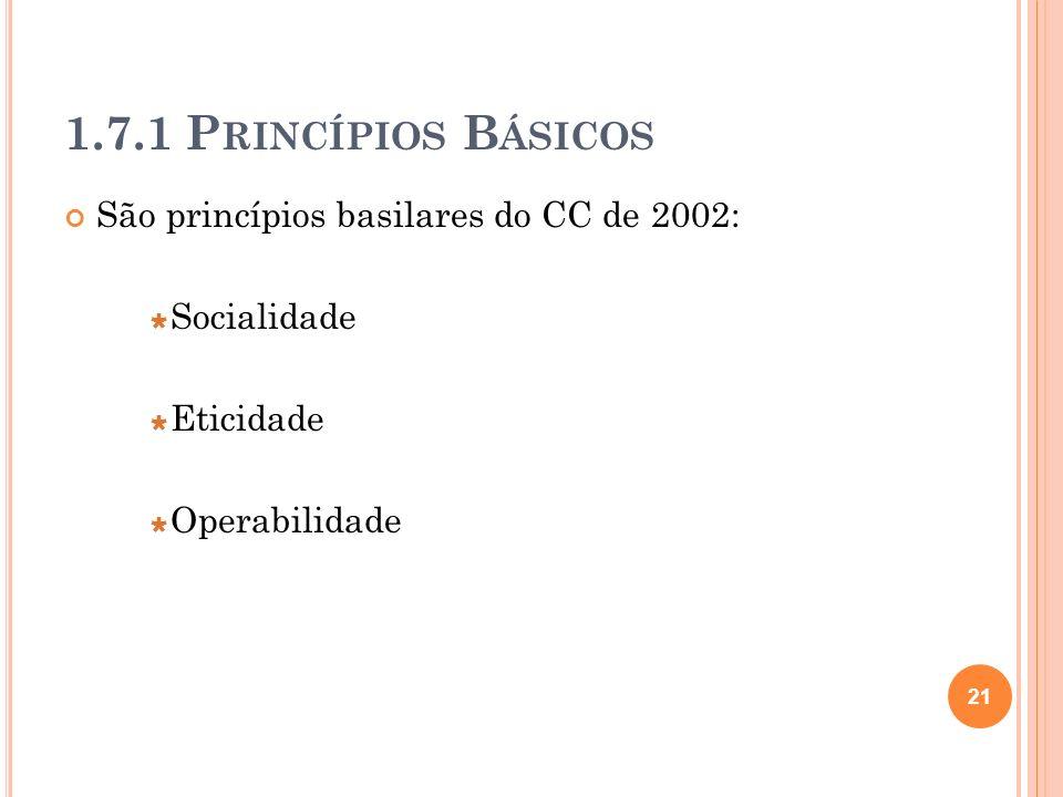 1.7.1 P RINCÍPIOS B ÁSICOS São princípios basilares do CC de 2002: Socialidade Eticidade Operabilidade 21