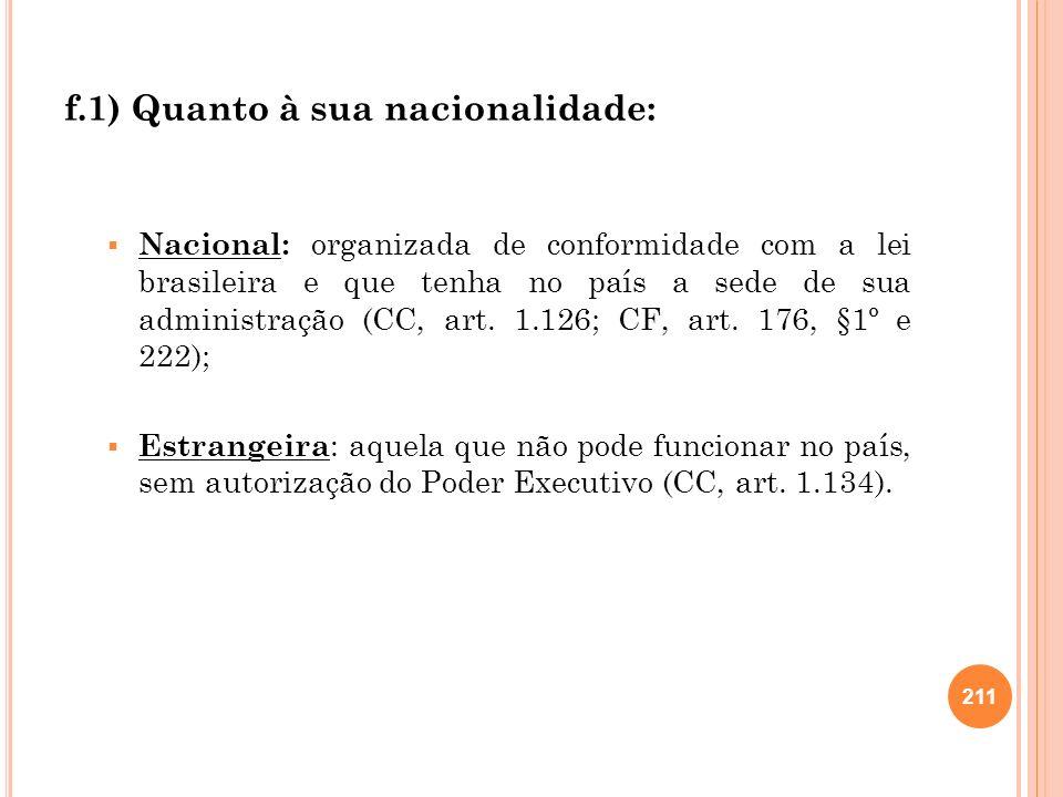 f.1) Quanto à sua nacionalidade: Nacional: organizada de conformidade com a lei brasileira e que tenha no país a sede de sua administração (CC, art. 1