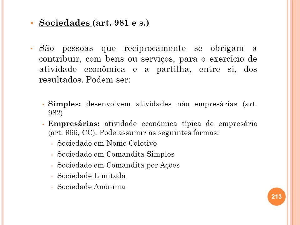 Sociedades (art. 981 e s.) São pessoas que reciprocamente se obrigam a contribuir, com bens ou serviços, para o exercício de atividade econômica e a p