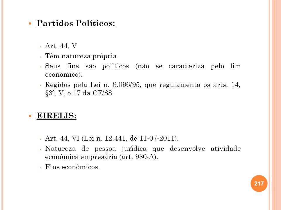 Partidos Políticos: Art. 44, V Têm natureza própria. Seus fins são políticos (não se caracteriza pelo fim econômico). Regidos pela Lei n. 9.096/95, qu