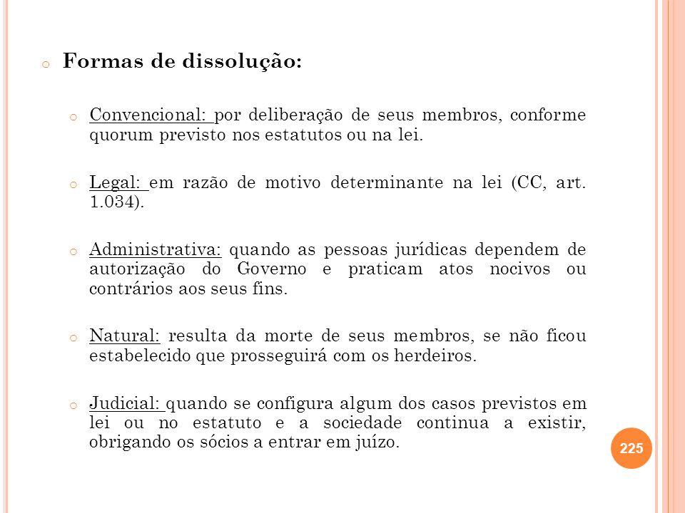 o Formas de dissolução: o Convencional: por deliberação de seus membros, conforme quorum previsto nos estatutos ou na lei. o Legal: em razão de motivo