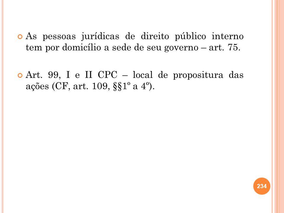 As pessoas jurídicas de direito público interno tem por domicílio a sede de seu governo – art. 75. Art. 99, I e II CPC – local de propositura das açõe