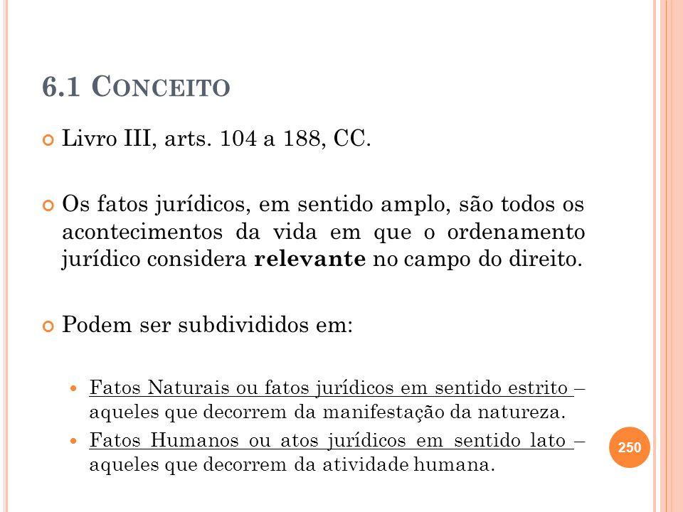 6.1 C ONCEITO Livro III, arts. 104 a 188, CC. Os fatos jurídicos, em sentido amplo, são todos os acontecimentos da vida em que o ordenamento jurídico