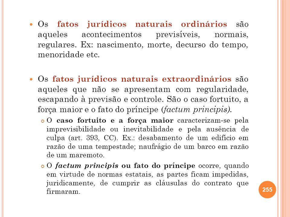 Os fatos jurídicos naturais ordinários são aqueles acontecimentos previsíveis, normais, regulares. Ex: nascimento, morte, decurso do tempo, menoridade