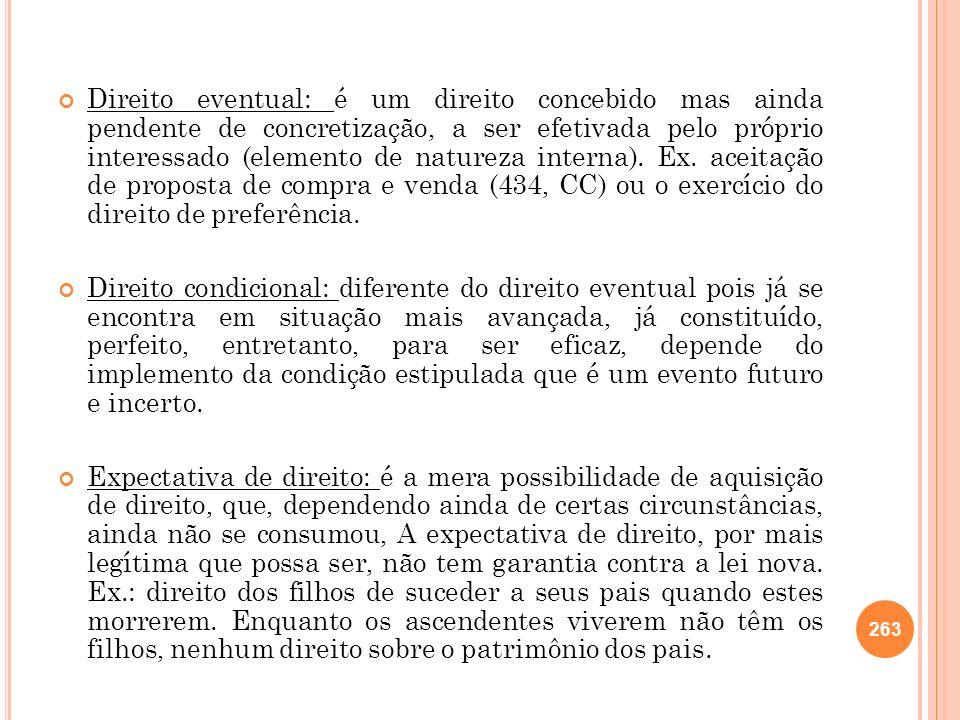 Direito eventual: é um direito concebido mas ainda pendente de concretização, a ser efetivada pelo próprio interessado (elemento de natureza interna).